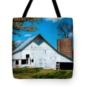 Old White Barn With Treed Silo Tote Bag