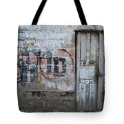 Old White Door In A Wall Tote Bag