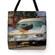 Old White Plymouth In Natural Sunset Tote Bag