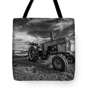 Old White Tractor In The Field Tote Bag