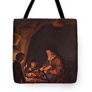 Old Woman Cutting Bread Tote Bag