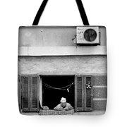Old Woman In Window  Tote Bag