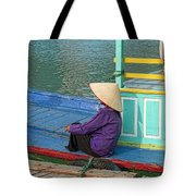 Old Woman On A Colorful River Boat Tote Bag