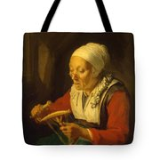 Old Woman Unreeling Threads 1665 Tote Bag