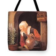Old Woman Watering Flowers 1665 Tote Bag
