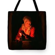 Old Woman With A Candle Tote Bag