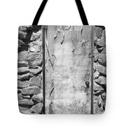Old Wood Door  And Stone - Vertical Bw Tote Bag