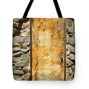 Old Wood Door And Stone - Vertical  Tote Bag