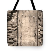 Old Wood Door  And Stone - Vertical Sepia Bw Tote Bag
