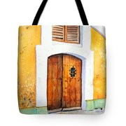 Old Wood Door Arch And Shutters Tote Bag