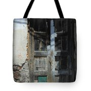 Old Wood Door In A Wall Tote Bag