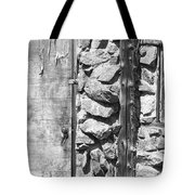 Old Wood Door Window And Stone In Black And White Tote Bag