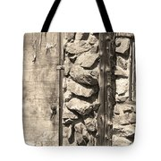 Old Wood Door Window And Stone In Sepia Black And White Tote Bag