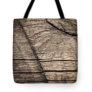 Old Wooden Board With Notches By Sawing Tote Bag