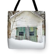 Old Wooden Garage In The Snow Woodstock Vermont Tote Bag