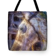 Old Wooden Horse Head Tote Bag