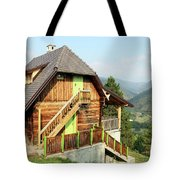 Old Wooden House On Mountain Landscape Tote Bag