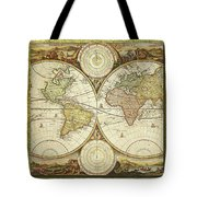 Old World Map On Gold Tote Bag