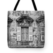 Old Yellow Building With Lace Curtain In Nice, France, Black And Tote Bag
