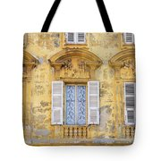 Old Yellow Building With Lace Curtain In Nice, France Tote Bag