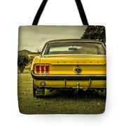 Old Yellow Mustang Rear View In Field Tote Bag