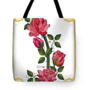 Olde Rose Pink With Leaves And Tendrils Tote Bag