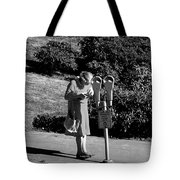 Older Woman Paying Parking Meter Tote Bag