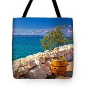 Olive Tree In Barrel By The Sea Tote Bag