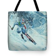 Olympic Downhill Skier Tote Bag