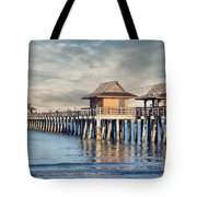 On A Cloudy Day At Naples Pier Tote Bag