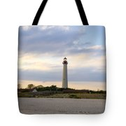 On The Beach At Cape May Lighthouse Tote Bag