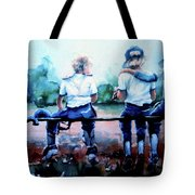 On The Bench Tote Bag by Hanne Lore Koehler