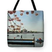 On The Cherry Blossom Dock Tote Bag