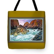 On The Coast Of Cornwall L A With Decorative Ornate Printed Frame. Tote Bag