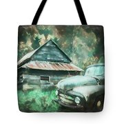 On The Edge Of The Green Mountains Painting Tote Bag
