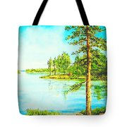 On The Lake In A Sunny Day 2 Tote Bag