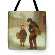 On The Way To School In The Snow Tote Bag