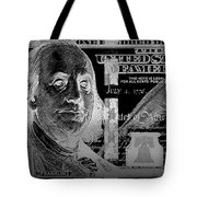 One Hundred Us Dollar Bill - $100 Usd In Silver On Black Tote Bag