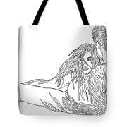 One Line Drawing Lovers On The Beach Tote Bag