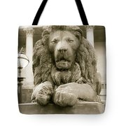 One Of Four Lion Statues Outside St George's Hall Liverpool Tote Bag