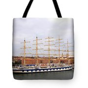 One Of Star Clipper's Masted Cruise Liners Docked In Venice Italy Tote Bag