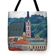 One Of The Churches In Cesky Kumlov In The Czech Republic Tote Bag