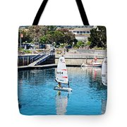 One-person Sailboats By The Commercial Pier In Monterey-california Tote Bag