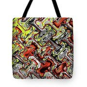 One Version Yellow And Red Abstract Tote Bag