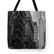 One World Trade Center New York Ny From Nassau Street Black And White Tote Bag