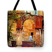 Open Air Bed Among The Arches India Rajasthan 1a Tote Bag