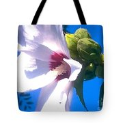 Open Hibiscus Flower With Deep Blue Sky Tote Bag
