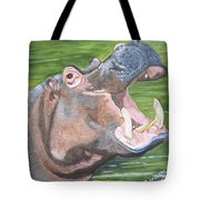 Open Mouthed Hippo On Wood Tote Bag
