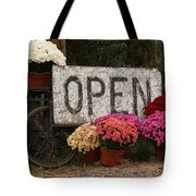 Open Sign With Flowers Fine Art Photo Tote Bag