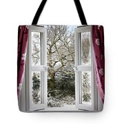 Open Window With Winter Scene Tote Bag